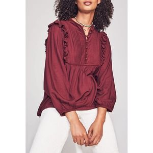 FAHERTY BRAND Sparrow Ruffle Trim Blouse L NEW